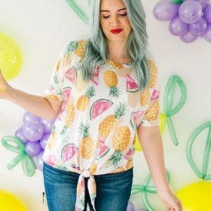 Tops - Pineapple and watermelon print front tie top